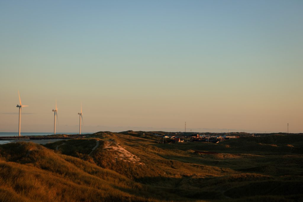 Die Dünenlandschaft in Hvide Sande bei Sonnenaufgang. Vor der Hafeneinfahrt stehen drei große Windräder.
